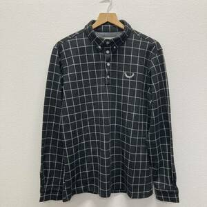美品 COMONGOLF コモンゴルフ 長袖 ポロシャツ シャツ 起毛 メンズ XXLサイズ チェック ブラック