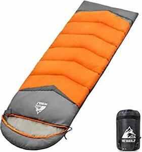 オレンジ 1.3KG:5℃~20℃-右 HEWOLF 寝袋 シュラフ 封筒型 190T防水 軽量 保温 2個連結 丸洗い可能 0