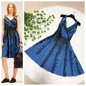 本物 コレクションモデル ボッテガヴェネタ レース装飾 ペイントデザイン ノースリーブ ワンピース ドレス 38 青系×黒 BOTTEGA VENETA