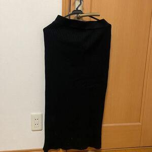 ロングスカート ニットタイトスカート ブラックAZUL L