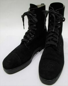 ★レア★ CHANEL シャネル Vintage ココマーク CC ロゴ スエード レザー レースアップ ブーツ 37 ブラック フランス製 正規品 JA