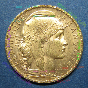 フランス マリアンヌ / ルースター 20フラン金貨 1906
