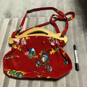 レア バッグ レトロ アンティークバッグ ハンドバッグ 布製 赤 木 ショルダーバッグ スエード ベルベット