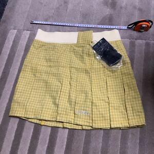新品 adidas スカート アディダス ミニスカート プリーツスカート Mサイズ 黄色 チェック柄 ゴルフ スポーツ 激安