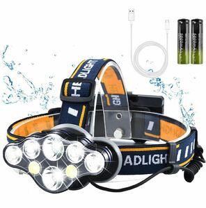 ヘッドライト LEDヘッドランプ USB充電式 高輝度 8 LED 8つモード