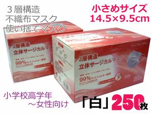 送料無料◇250枚 白 使い捨てマスク 3層構造 不織布マスク 幅広ゴム 小さめサイズ 14.5×9.5cm 小学校高学年から 特価