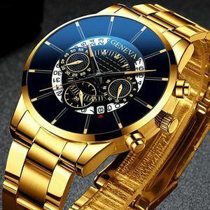 腕時計メンズステンレス鋼新2020ジュネーブの高級商務ファッショントップブランドカレンダークォーツ時計男性レロジオmasculino