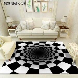 【送料無料】カーペット 3D オシャレ インテリア ブラック ホワイト1