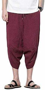 新品ワインレッド 3XL Infabe メンズ サルエルパンツ 七分丈 夏 無地 ボトムス 袴パンツ 涼しい カジュ6D2Q