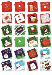 【期間限定】クリスマスカードセット 24枚入り 7cm x 7cm メッセージカード封筒付きFH1E