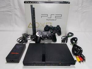 PS2 薄型 黒/本体美品【リング傷対策:分解メンテ:90日保証】PlayStation2 SCPH-75000 CB:AJ1142698/箱付き 取説なし/稼働時間短い
