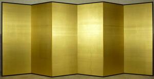 【都屋】12 金屏風 無地 絹目 金箔 高さ 約175㎝ 六曲半双 衝立 パーテーション 間仕切り 銀屏風