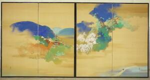 【都屋】50 落款有 京都 名所 山水図 二枚折 屏風 一双 高さ 約146.5㎝ 絹本肉筆 五重塔