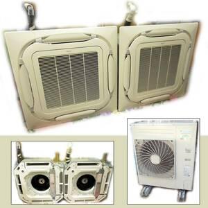 〓世田谷手渡推奨 DAIKIN/ダイキン業務用エアコン 天井カセット室内機FHCP80EN×2台 室外機RZRP160BD 現状 EcoZEAS SZRC160BFND 三相200Vε