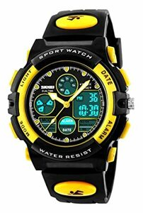 4-イエロー 子供腕時計 ボーイズスポーツウォッチ アウトドア多機能防水 アラート 日付曜日表示 デュアルタイム LED アナロ
