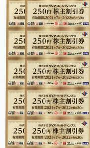 ヴィアホールディングス株主優待券 2500円分(250円×10枚)送料無料