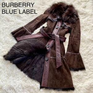 BURBERRY BLUE LABEL バーバリーブルーレーベル ムートンコート M相当 フレア袖 フリル袖 ベルト付 三陽商会 替えボタン タグ付 焦茶系