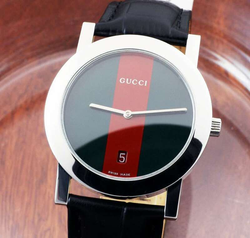 【GUCCI 】グッチ 5200M St.Steel Green/Red/Green Dial Round クォーツ メンズ 腕時計 ( 美品 , New Battery) / 35mm