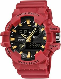 レッド メンズ デジタル時計 アウトドア防水 ミリタリー風 クロノグラフ カウントダウン スポーツ腕時計 カジュアル 人気 3D