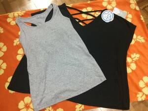 6.5割引!★新品ROXY ロキシーLトップス半袖Tシャツ&カップ付きタンクトップ2枚セット黒★UVランニング/テニス/ヨガに♪ブランド/即決も