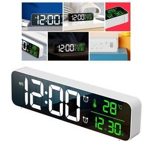 デジタル 時計 LED 目覚まし ミラー 多機能 温度 カレンダー 壁掛け 卓上 アラーム スヌーズ USB ブラック