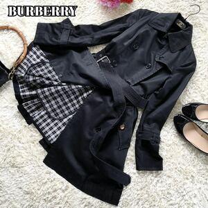 バーバリーブルーレーベル BURBERRY BLUELABEL トレンチコート ライナー付 ダブルボタン ノバチェック サイズ36 S相当 ブラック 黒