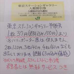 JR東日本優待券の東京ステーションギャラリー半額割引券4枚47円(ミニレター送料込み110円)即決価格(更に値下げしました!)