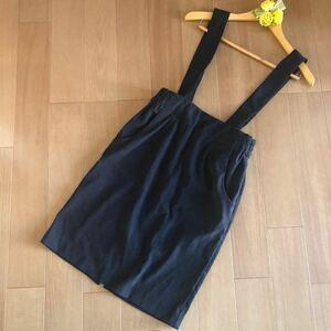 ローリーズファーム★タイトスカート サスペンダー付き ロングスカート スエード調 ジャンパースカート 黒 ブラック