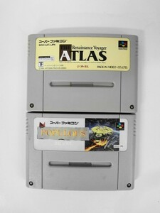 SFC21-061 任天堂 スーパーファミコン SFC ポピュラス ジアトラス セット The Atlas レトロ ゲーム ソフト 使用感あり