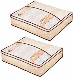 ベージュ 中 アストロ 羽毛布団 収納袋 2枚組 シングル用 ベージュ 不織布 コンパクト 優しく圧縮 131-35