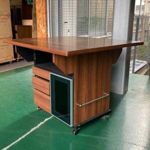 バタフライカウンターテーブル 幅89.5cm ブラウン折りたたみ キッチン収納棚 キッチンカウンター バタフライ 引き出し キャスター付
