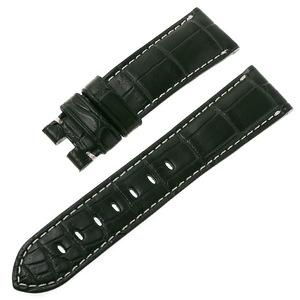 RASINオリジナル パネライ ルミノール Dバックル用革ベルト クロコ 裏ラバー 艶消し 緑/グリーン 22mm-20mm OPLNDB2220 腕時計 ストラップ