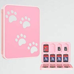 好評 新品 カ-ドケ-ス Switch 2-4W かわいい ピンク肉球 ATiC 任天堂 Switch 有機ELモデル対応 ゲ-ムカ-ド収納ボックス