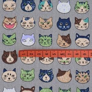 猫柄 帆布生地 140cm×100cm ハギレ 布