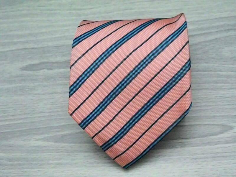 美品【バーバリー BURBERRY】ストライプ柄 ネクタイ ピンク系 ENGLAND 英国製 イングランド SILK ブランド USED オールド 古着