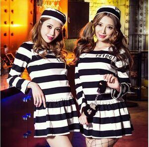 新品 かわいい ミニ ボーダー ワンピース 囚人 白黒 M 3点セット プリズナー 囚人服 ハロウィン クリスマス ミニワンピ 帽子 手錠
