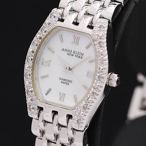 1円◎稼働◎良品【ANNE KLEIN/アンクライン】DIAMOND シェル文字盤 スイス製 QZ レディース腕時計 A0146558