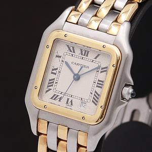 1円◎稼働品◎【カルティエ】パンテール 3ロウ YG×SS スイス製 デイト コンビ QZ メンズ腕時計 732A0146670