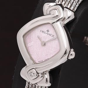 1円★稼働◎正規良品【DELANCE】QZ ダイヤ型 1P石入り スイス製 ピンク文字盤 レディース腕時計 A0146421