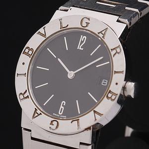 1円☆稼働☆良品【ブルガリ】ブルガリブルガリ BB30SS 黒文字盤 デイト スイス製 QZ メンズ腕時計 440A0146342