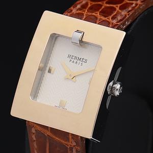 1円☆稼働☆良品【エルメス】保証書付 BE1.120 ベルトウォッチ 白系文字盤 スイス製 QZ レディース腕時計 箱付 450A0136699