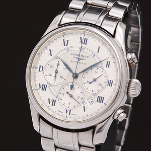 1円●正規品【ロンジン LONGINES】自動巻き クロノグラフ デイト L2.622.4 ウィームス 裏スケ メンズ腕時計 180A0132391