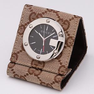 1円☆正規☆【グッチ】トラベルクロック 200 黒文字盤 スイス製 QZ 置時計 箱付 500A0137028