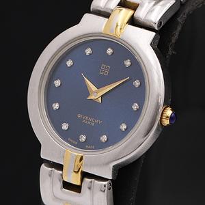 1円★稼働★【ジバンシィ】スイス製 石付きブルー系文字盤 コンビカラー QZ レディース腕時計 A0147128