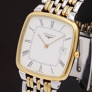 1円☆稼働☆良品【ロンジン】フラッグシップ 白文字盤 デイト スイス製 QZ メンズ腕時計 710A0147213