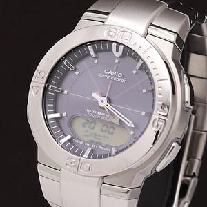 1円☆正規☆【カシオ】WVA-310 パープル文字盤 コマ6 デジアナ タフソーラー メンズ腕時計 A0147027