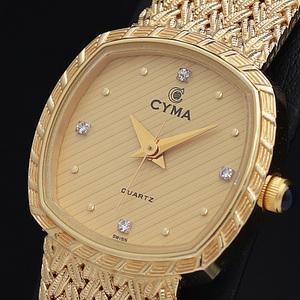 1円★保証書付◎正規【CYMA/シーマ】ゴールド系文字盤 4P石入り スイス製 箱付 QZ レディース腕時計 A0137375