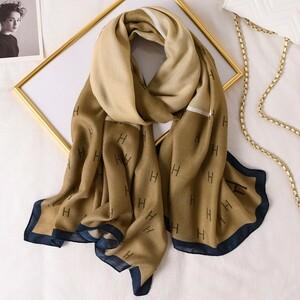 ■新品 Hロゴ スカーフ カーキー×ベージュ