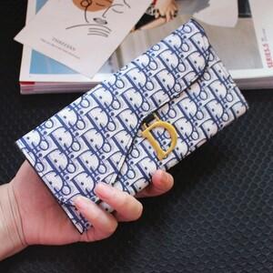 □財布 カードケース 薄手 英字柄 ゴールド ブルー
