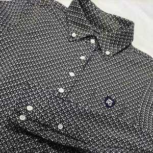 美品正規品 パーリーゲイツ サイズ2  PG総柄 長袖 ポロシャツ 送料無料 ボタンダウン